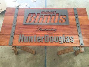 Budget Blinds Wood Metal Sign