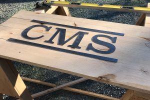 CMS Unfinished Wood and Metal Sign Sacramento